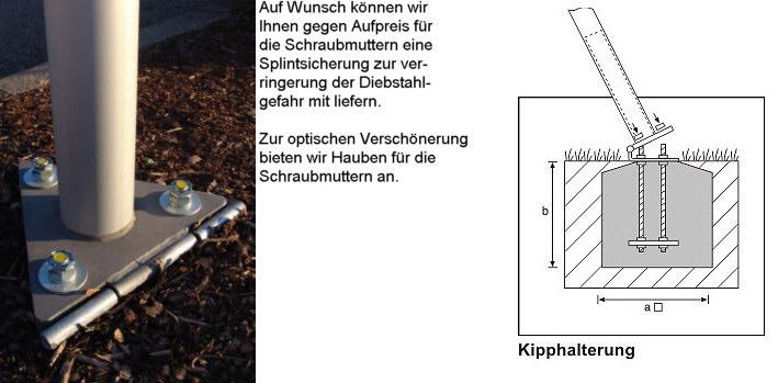 Kipphalterung aus Edelstahl, für Mast  Ø=100mm, Nennhöhe  7m / 8m