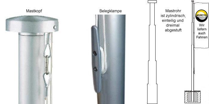 6m hoher, 1x abgest., 2-teil. Alu-Mast, Serie S75 Ø=75/60mm