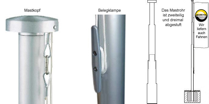 8m hoher, 1x abgest., 2-teil. Alu-Mast, Serie S90, Ø=90/75mm