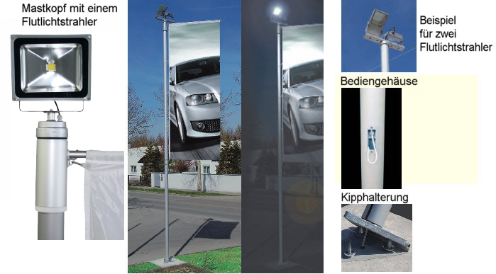 Kombinierter Fahnen-/Lichtmast ZI 100-K KOMBI mit 7m Höhe und 2 LED-Flutern