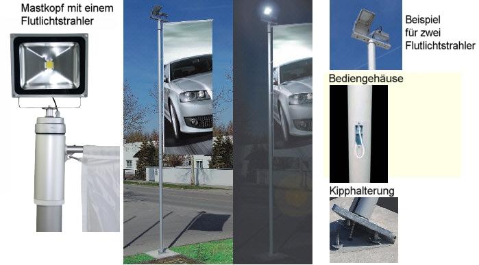 Kombinierter Fahnen-/Lichtmast ZA100 KOMBI mit 6m Höhe und 2 LED-Flutern
