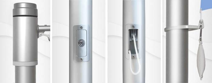 8m hoher zylindr. Aluminium-Fahnenmast, ZA75, Ø=75mm, Innenseilführung, Auslegerstange