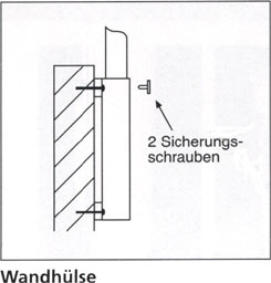 Wandhülse aus Stahl für Masten mit Ø 75mm, mit Distanz 200mm