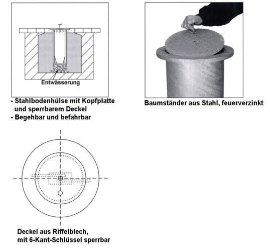 Baumständer aus Stahl, Tiefe 100cm, Ø 386mm