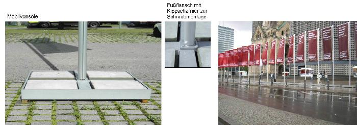 Mobiler Fahnenmast aus Aluminium Innenseilführung (ZI75) NH 6m für Mobilkonsole