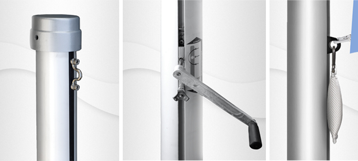 7m hoher zylindr. Aluminium-Fahnenmast, ZI75K, Ø=75mm, Innenseilführung, Kurbelantrieb