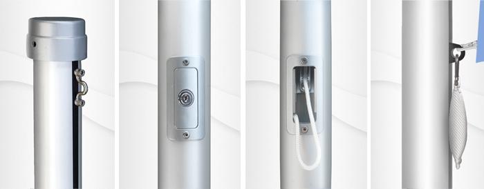 10m hoher zylindr. Aluminium-Fahnenmast, ZI100, Ø=100mm, Innenseilführung, incl. Kipphal