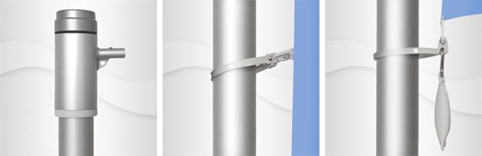 7m hoher zylindr. Aluminium-Fahnenmast, ZD75, Ø=75mm, nicht hissbar,  Auslegerstange