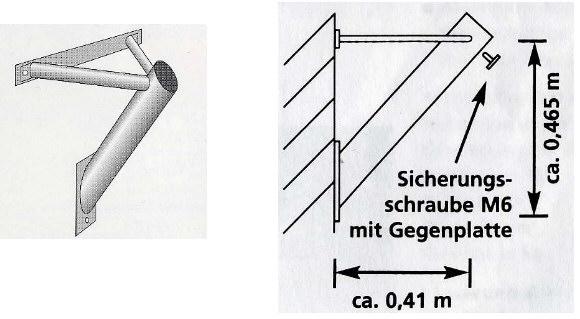 Schräghalter aus Stahl, feuerverzinkt, für Masten mit Ø 75mm - Preis auf Anfrage!