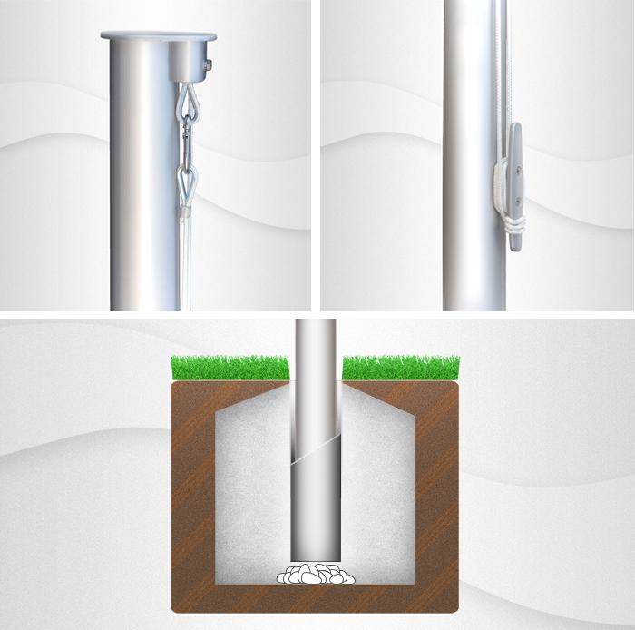 7m hoher zylindr. Aluminium-Fahnenmast ( Z90-7 ), Ø=90mm