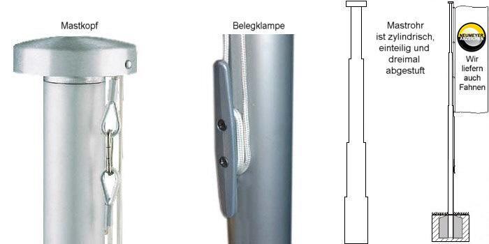 5m hoher, 1x abgest., 2-teil. Alu-Mast, Serie S75 Ø=75/60mm