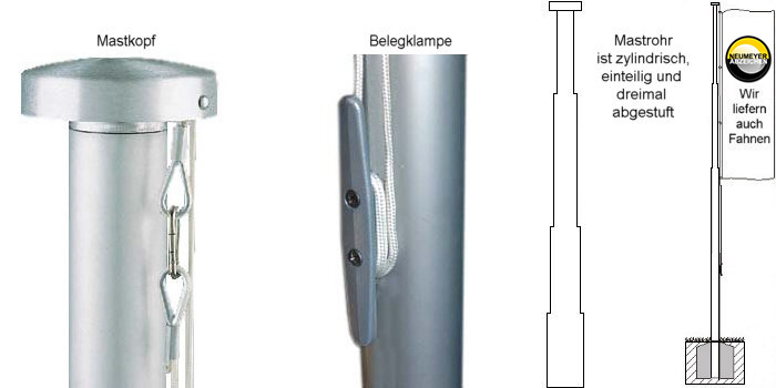 5m hoher 1x abgestufter aluminium fahnenmast serie s 75 75 60mm. Black Bedroom Furniture Sets. Home Design Ideas