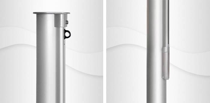8m hoher konischer Aluminium-Fahnenmast, KI, Ø=135/76, C-Schiene mit Innenseilführung