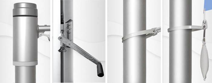 6m hoher zylindr. Aluminium-Fahnenmast, ZA90K, Kurbelantrieb, Innenseilführung, Auslegerstange