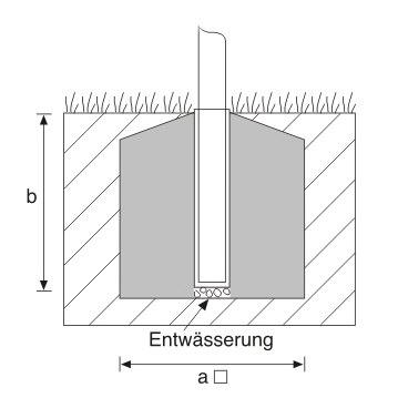 Bodenhülse aus Aluminium für zylindr. Edelstahlmasten mit Ø=76mm