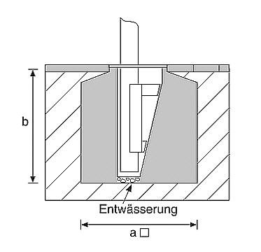 Bodenhalterung Vario 90/150 für Masten mit Ø90-150mm