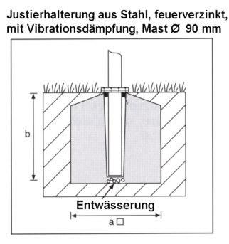 Justierhalterung aus Stahl für Masten mit Ø 90mm