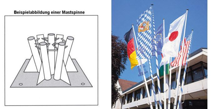 Mastspinne zum Aufdübeln für 3 Masten mit Ø 90 mm