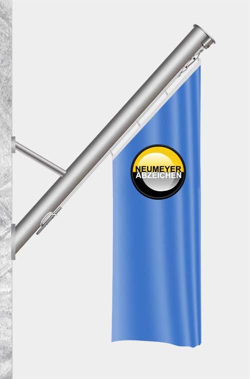 Alu-Schrägstange ZI75-F, Hissseil innenliegend, für Fassadenmontage, 3m, Ø 75m