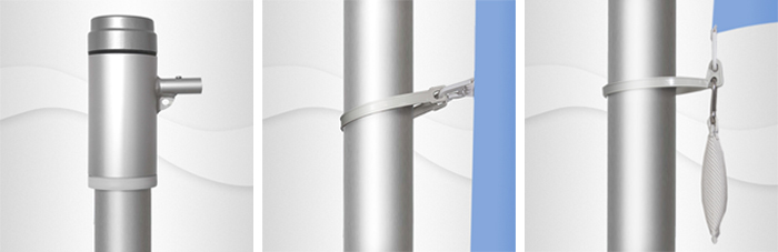 9m hoher Aluminium-Fahnenmast, ZD100,  Ø 100mm, nicht hissbar, Auslegerstange