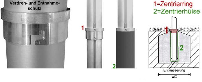 Zentrierhülse für zylindr.  Aluminium-Fahnenmasten,  Ø 100mm, mit Verdreh- und Entn