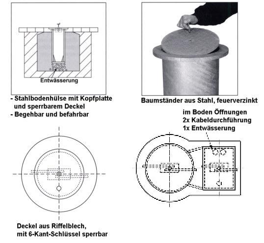 Baumständer Gr. I aus Stahl mit seitlicher Steckdose, Tiefe 80 cm, Ø 203 mm