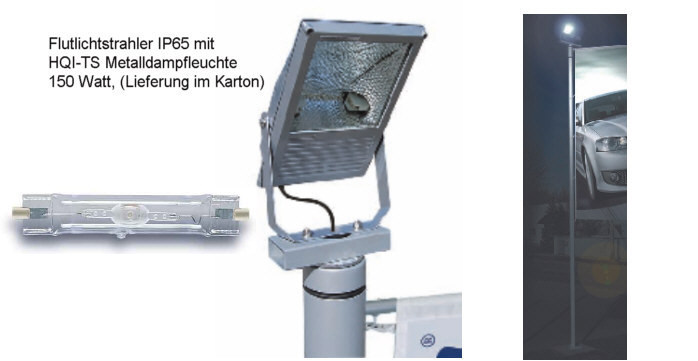Flutlichtstrahler IP65 mit HQITS Metalldampfleute 150 Watt
