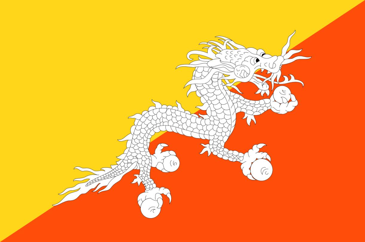 Flagge im Querformat Land Bhutan 150x100 cm
