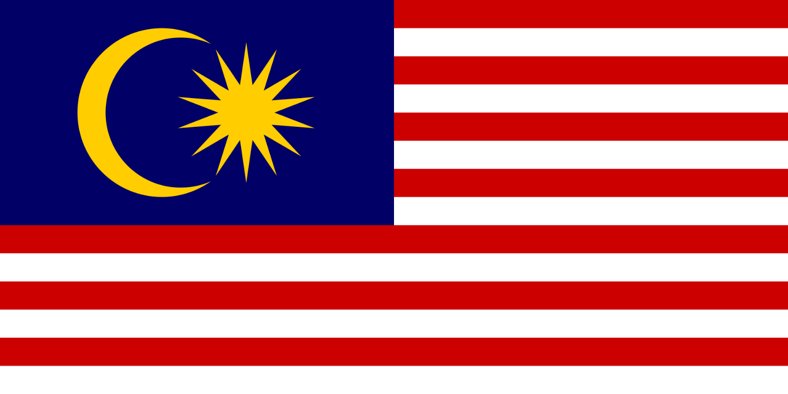 Flagge im Querformat Land Malaysia 150x100 cm