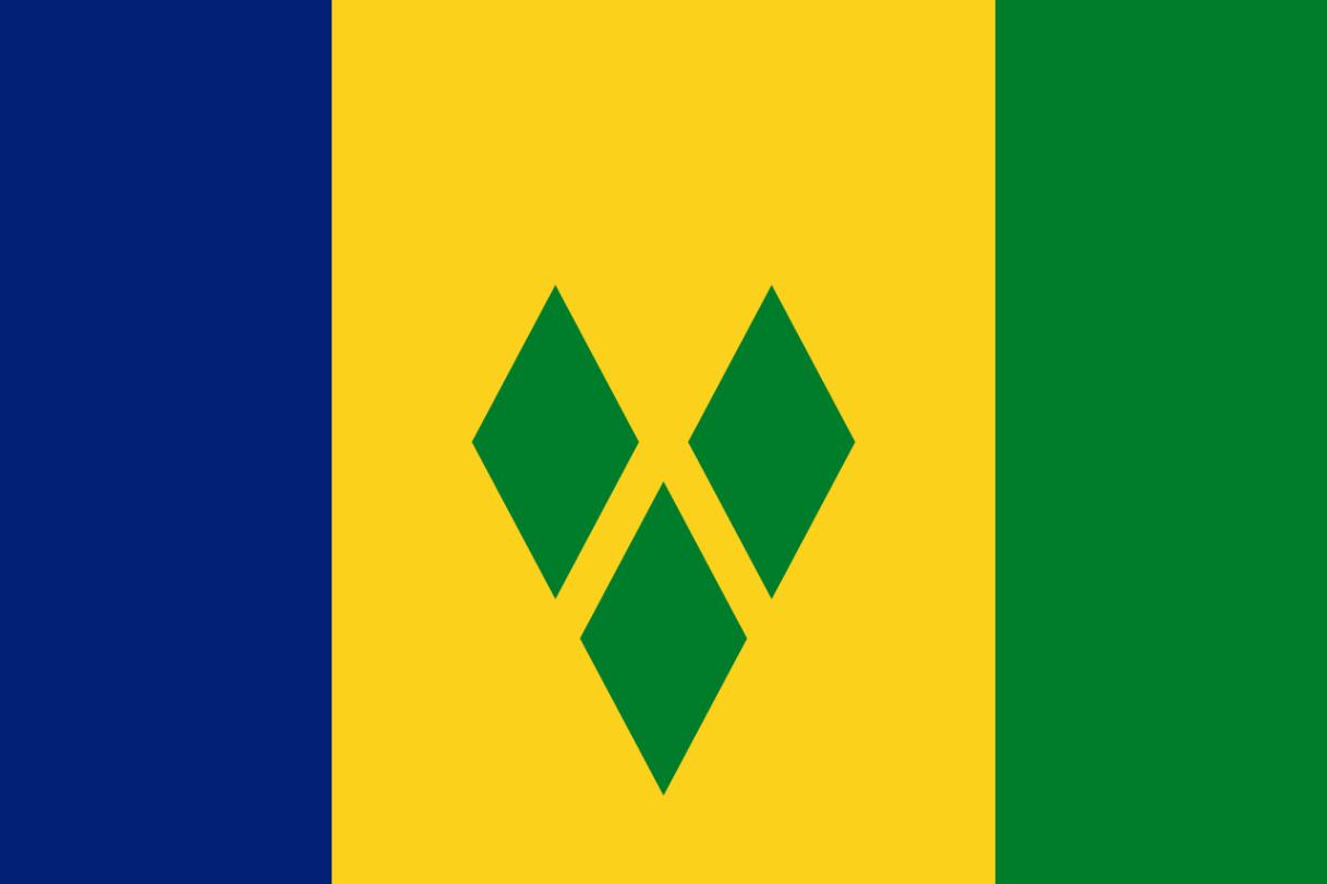 Flagge im Querformat Land St. Vincent / Grenadinen 150x100 cm