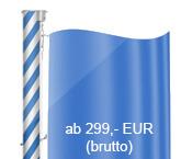 Fahnenmasten mit weiß-blauer Wendelung