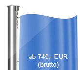 Standard-Hissvorrichtung, Fahnenmast aus Edelstahl, zylindrisch, starr, (Z)