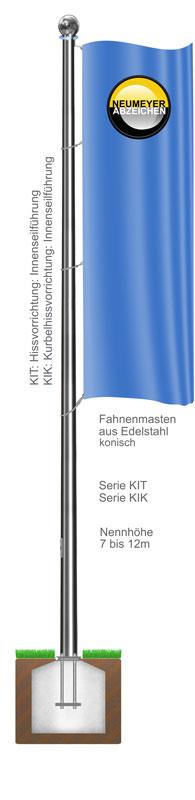 Innenseilf�hrung, Fahnenmast aus Edelstahl, konisch, starr, (KIT/KIK)