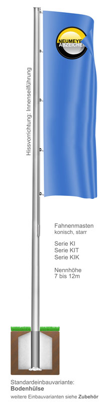 Innenseilführung, Flaggenmast aus Aluminium, konisch, starr, (KI/KIT/KIK)