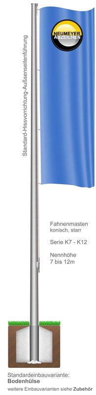Standard-Hissvorrichtung, Fahnenmasten aus Aluminium, konisch, starr, (K)