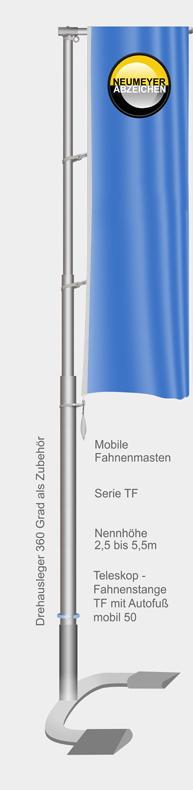 Mobile Teleskop-Fahnenstange (TF) mit Autofuß