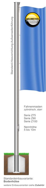 Standard-Hissvorrichtung, Fahnenmast aus Aluminium, zylindrisch, starr, (Z)