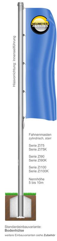 Innenseilführung, Flaggenmast aus Aluminium, zylindrisch, starr, (ZI)