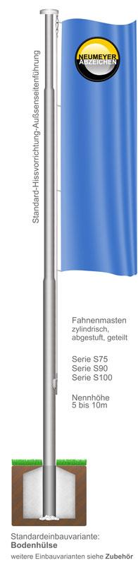 Standard-Hissvorrichtung, Alu-Fahnenmast, zylindr. abgestuft, geteilt