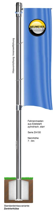 Drehbarer Ausleger, Fahnenmast aus Edelstahl, zylindrisch,starr