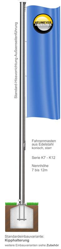 Standard-Hissvorrichtung. Fahnenmast aus Edelstahl, konisch, starr, (K)