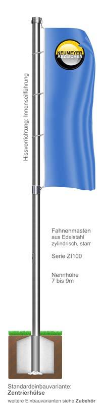 Innenseilführung, Fahnenmast aus Edelstahl, zylindrisch, starr