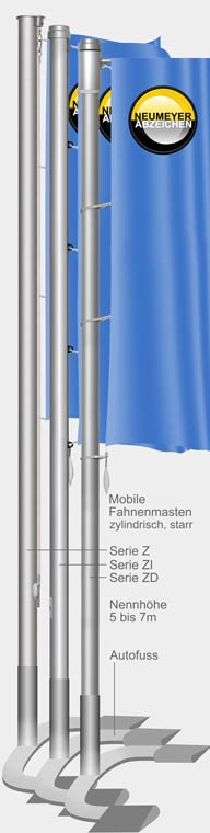 Mobiler Fahnenmast (Z/ZD) mit Autofuß u.a.