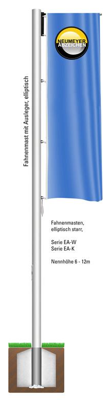 Ausleger, Flaggenmasten aus Aluminium, elliptisch., 360 Grad drehbar