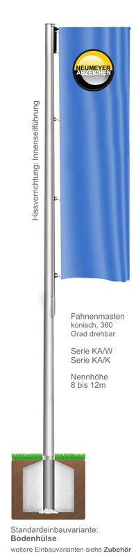 Ausleger, Flaggenmasten aus Aluminium, konisch, 360 Grad drehbar