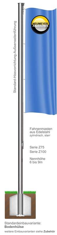 Standard-Hissvorrichtung, Fahnenmast aus Edelstahl, zylindrisch, starr